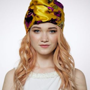 Turban hat hijab of yellow floral silk