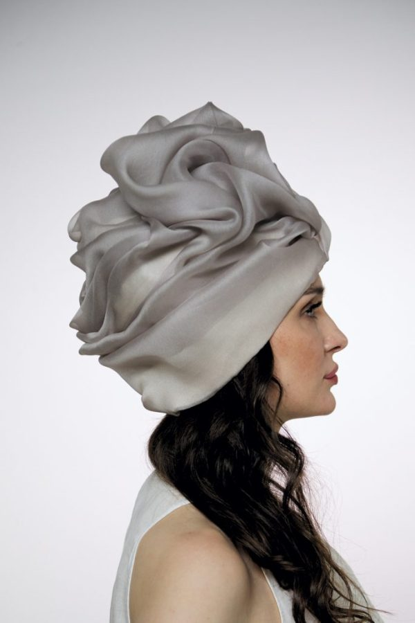 Smoky silk organza turban hat hijab with a big Pearl bead