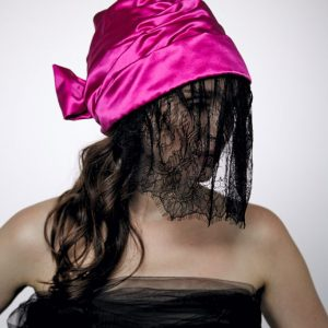 Silk turban hat hijab Fuchsia rose with bow and black lace