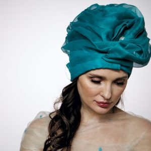 Turquoise silk organza turban hat hijab with a big Pearl bead