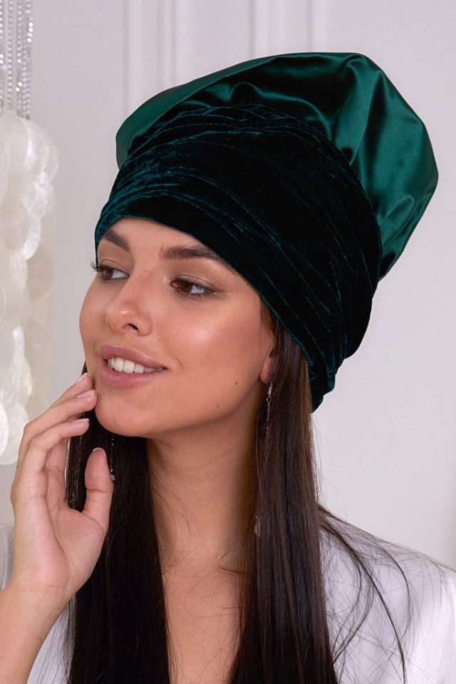 Dark emerald turban hat hijab combined of silk and velvet