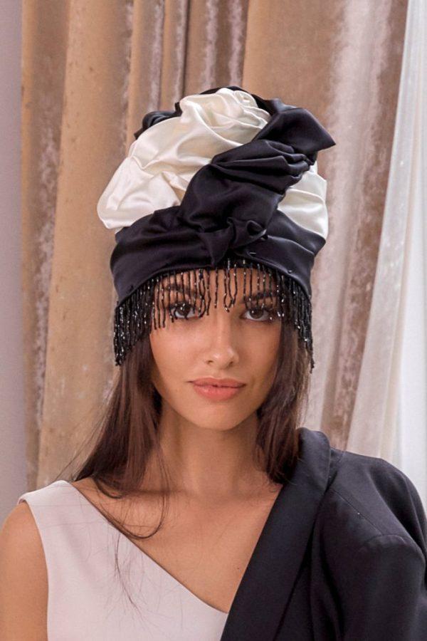 Turban hat hijab of white and black silk