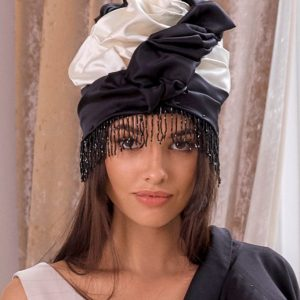 Turban hat hijab of white and black silk