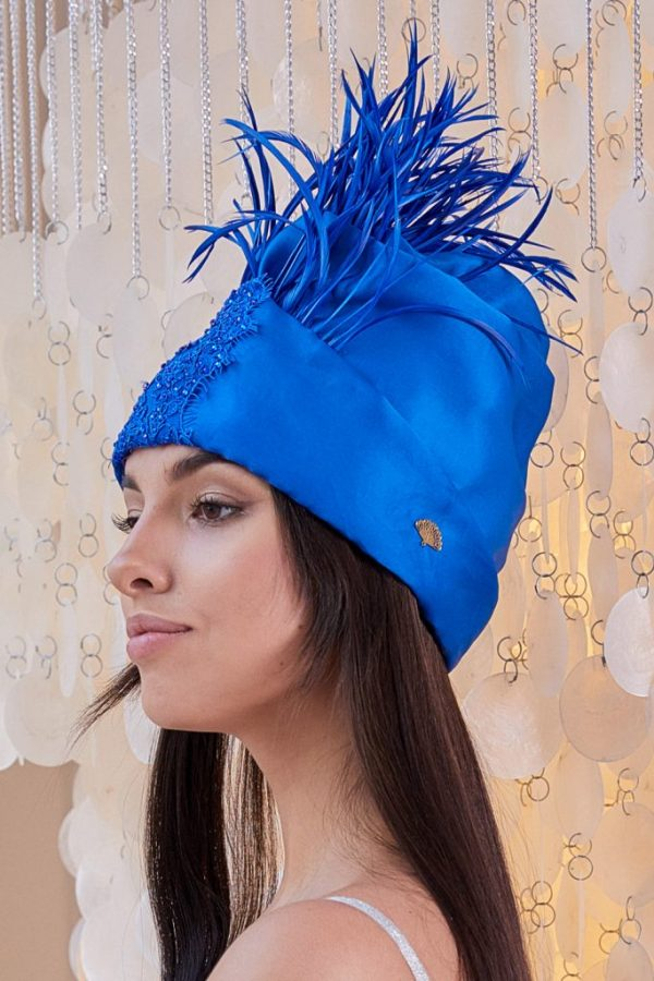 Turban hat hijab of royal blue organza with feathers