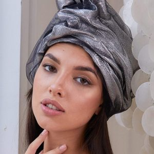 Turban hat hijab of silk taffeta with lurex and fatin