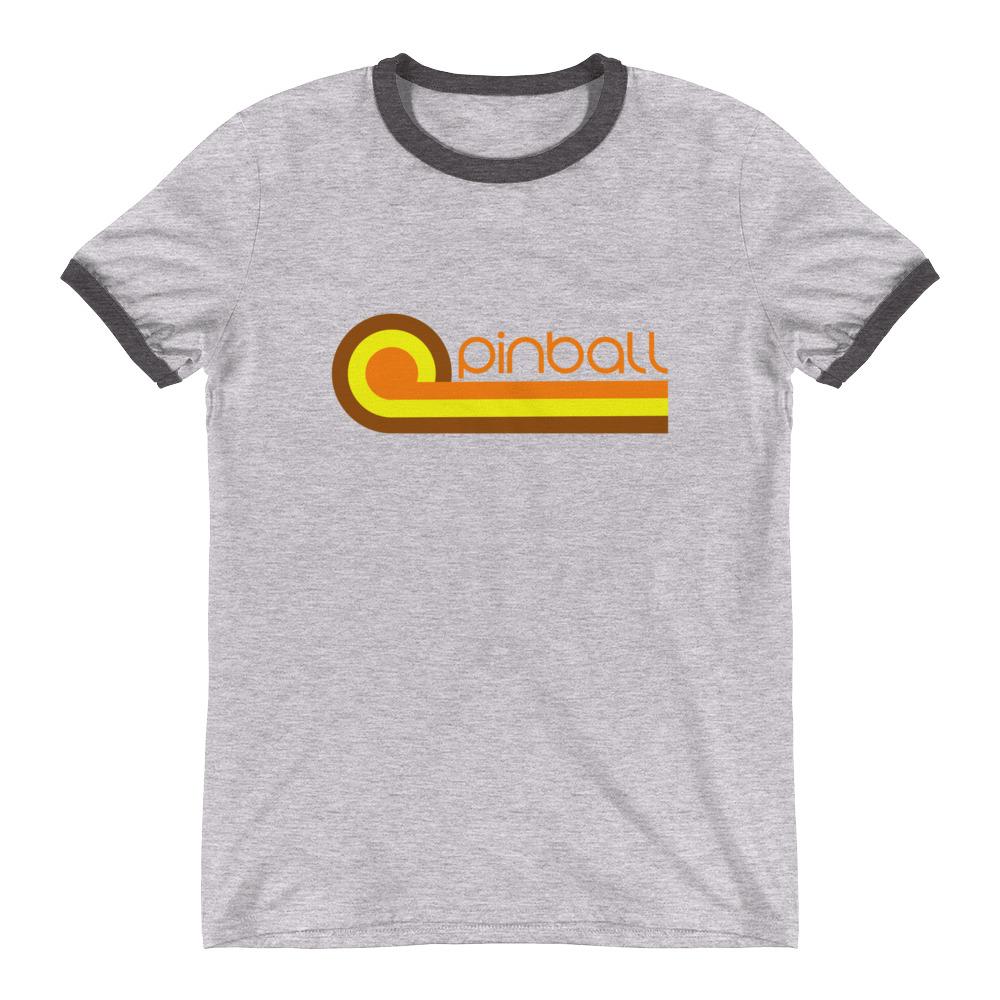 289e84e8fa625 Retro 70s Pinball T-Shirt Old School Ringer Tee - Turbo Volcano