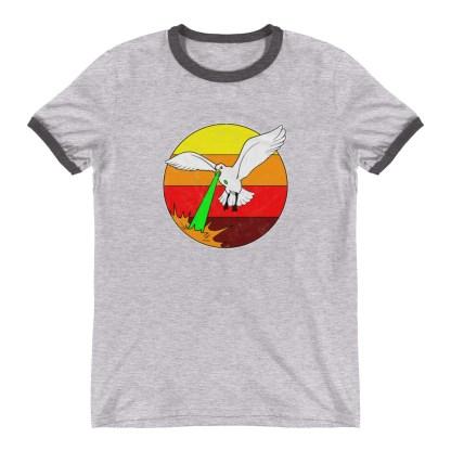 Retro Laser Seagull T-Shirt 1980s Style Ringer Tee (grey)