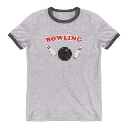 Old School Retro Bowling Ringer T-Shirt (grey)