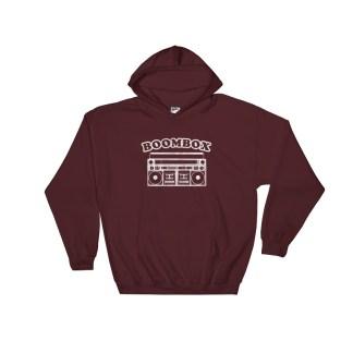 Retro Boombox Hoodie Classic Boombox Sweatshirt (maroon)