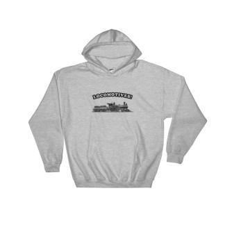 Retro Locomotive Sweatshirt Vintage Railroad Hoodie (grey)