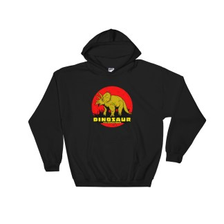 Retro Triceratops Hoodie Vintage Dinosaur Hooded Sweatshirt (black)
