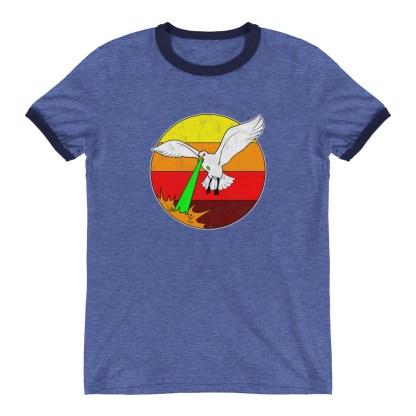 Retro Laser Seagull T-Shirt 1980s Style Ringer Tee (blue)