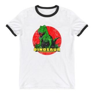 Retro T-Rex Dinosaur T-Shirt Vintage Tyrannosaurus Rex Ringer T-Shirt (white)