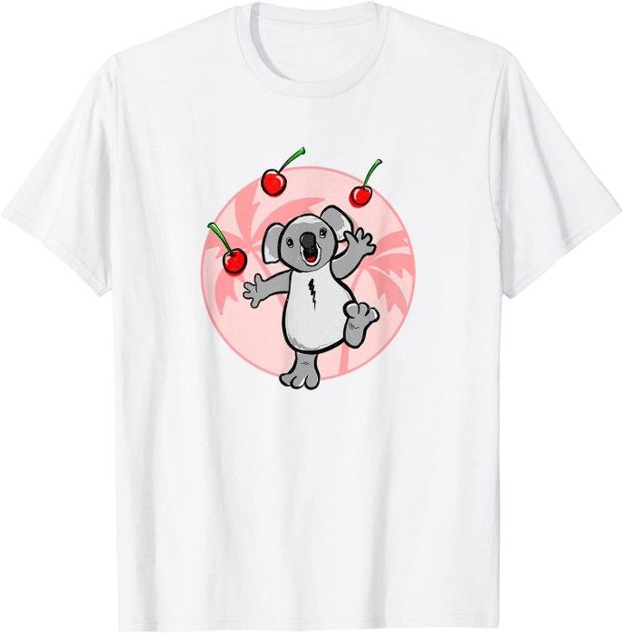 Super Cute Koala Juggling Cherries Retro Kawaii T-Shirt