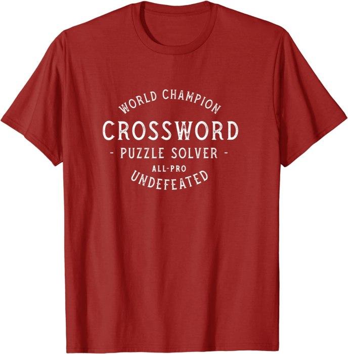 Retro World Champion Crossword Puzzle Solver T-Shirt