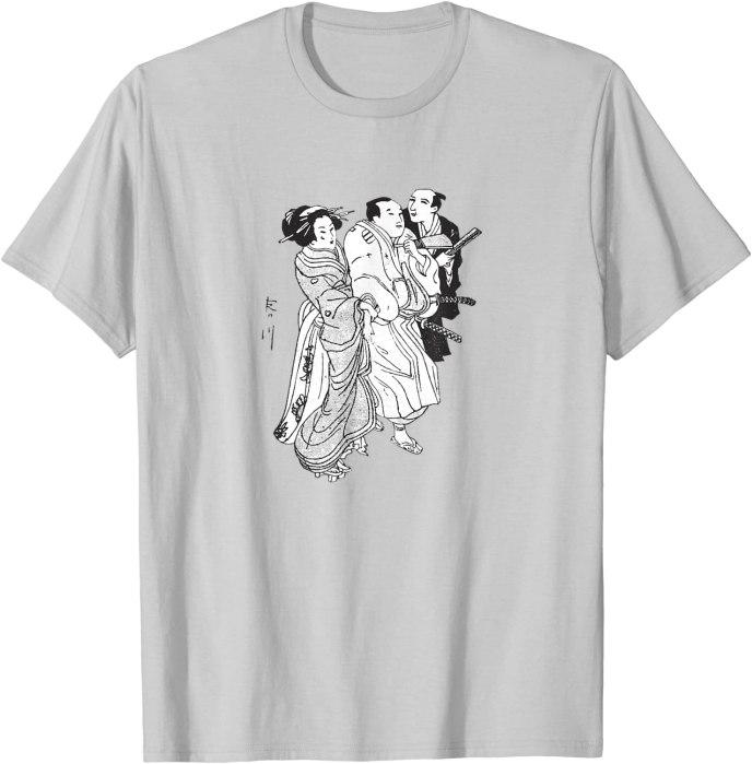 Geisha and Samurai Vintage Japanese Drawing T-Shirt