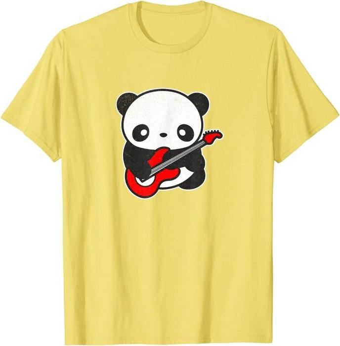 Kawaii Panda Playing Electric Guitar by Turbo Volcano T-Shirt