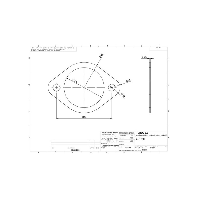 standard 3 inch gasket 76mm 3 2 holes