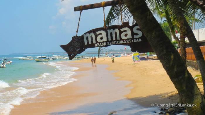 Mamas Restaurant på stranden i Hikkaduwa Sri Lanka