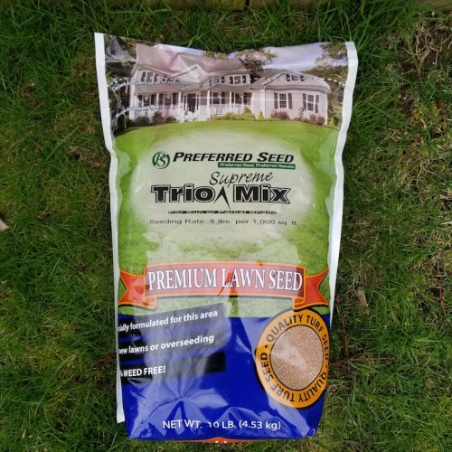a bag of Trio Supreme grass seed