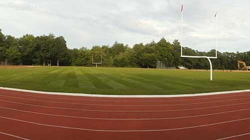 sod installation portfolio image of football field in Concord NH