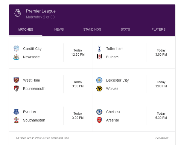 epl week 2 saturday fixtures