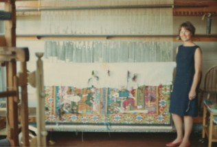 Turid in the Kunstrindustri Museum Studio where she was employed as a weaver.