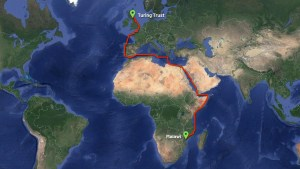 Map showing progress of the container en route to Malawi