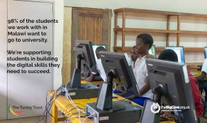 Student stats on photo of students in Nyungwe CDSS computer lab