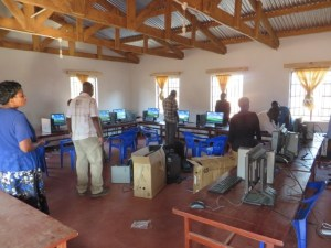 Setting up a computer lab at Lura Community Day Secondary School