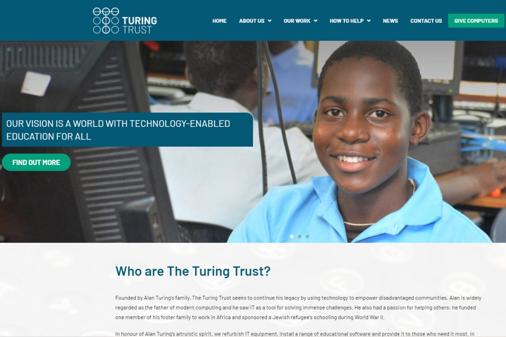 The Turing Trust new website homepage with our new logo