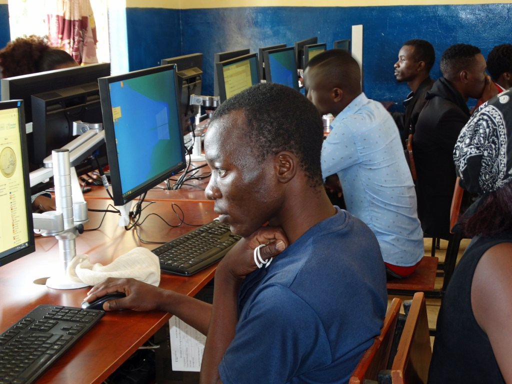 Students working in the computer lab at University of Livingstonia, Malawi