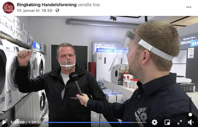 Udsendelsen fra 13. januar 2020 har fået over 1.800 kommentarer. (Skærmdump fra Ringkøbing Handelsforenings Facebook-side.)