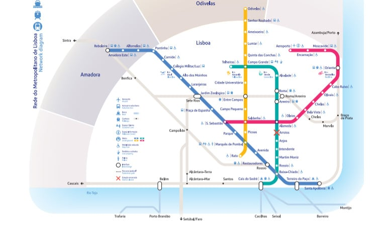 transportes em Lisboa mapa metrô