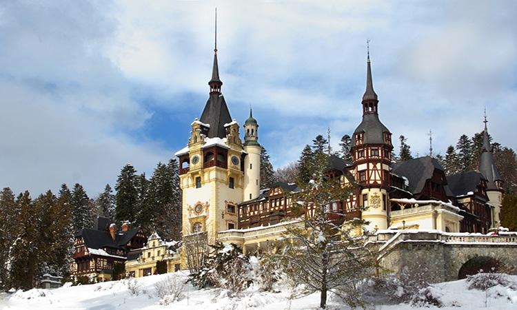 castelo de peles no inverno