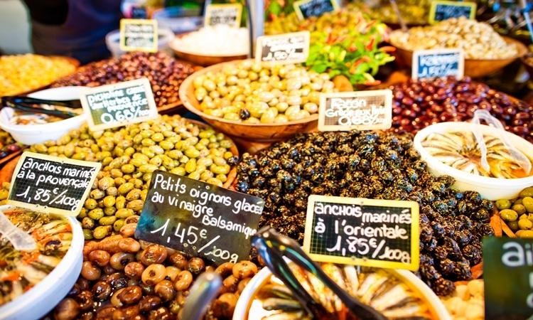 Mercados em Paris alimentos