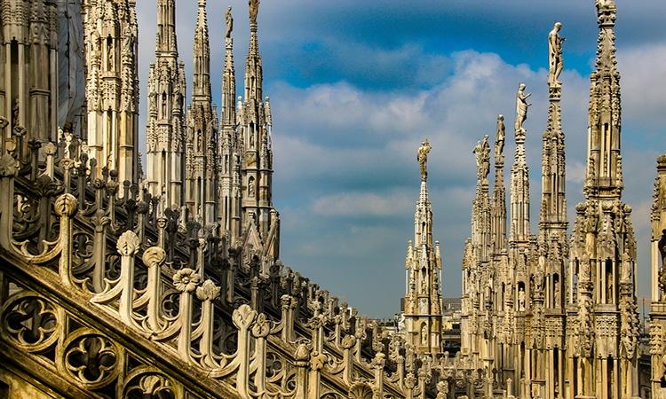 detalhes do Duomo de Milão