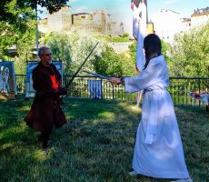 Juego de espadas en el campamento templario