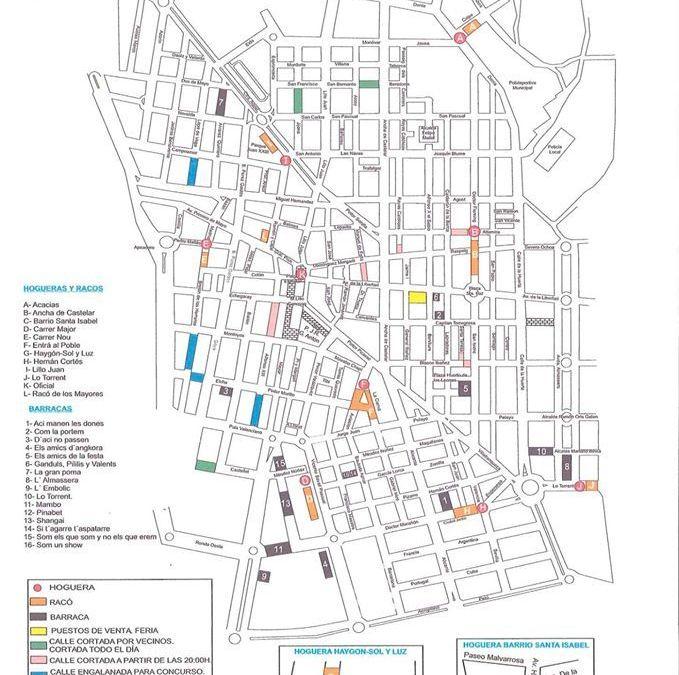 Mapa Hogueras San Vicente del Raspeig