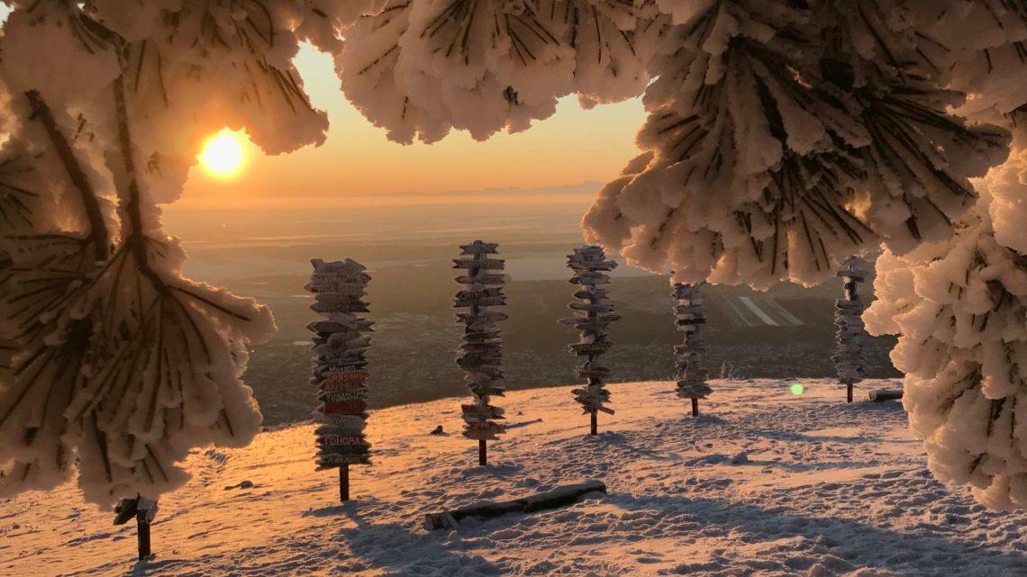 Зимний рассвет в Пятигорске, утро на горе Машук