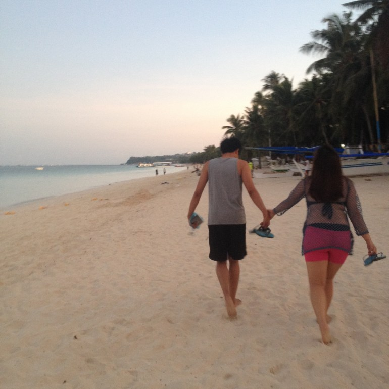 Strolling at Boracay White Beach (my best friend and her boyfriend)