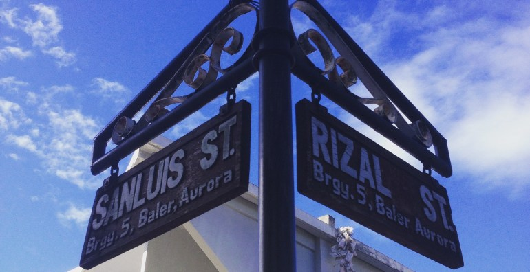 Road signs in downtown Baler
