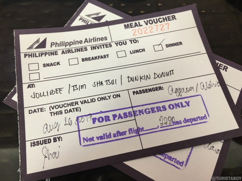 Philippine Airlines' meal voucher | Cebu Turista Boy