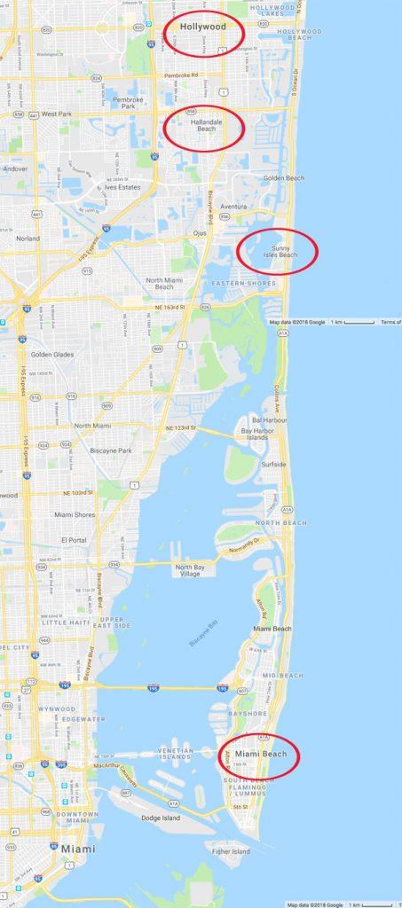 Mapa costa este