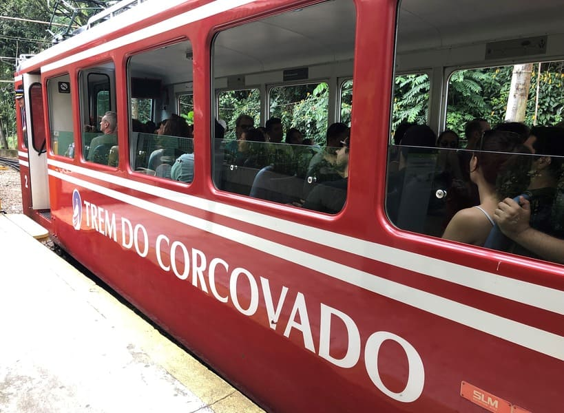 Old generation of Corcovado train to Christ the Redeemer.