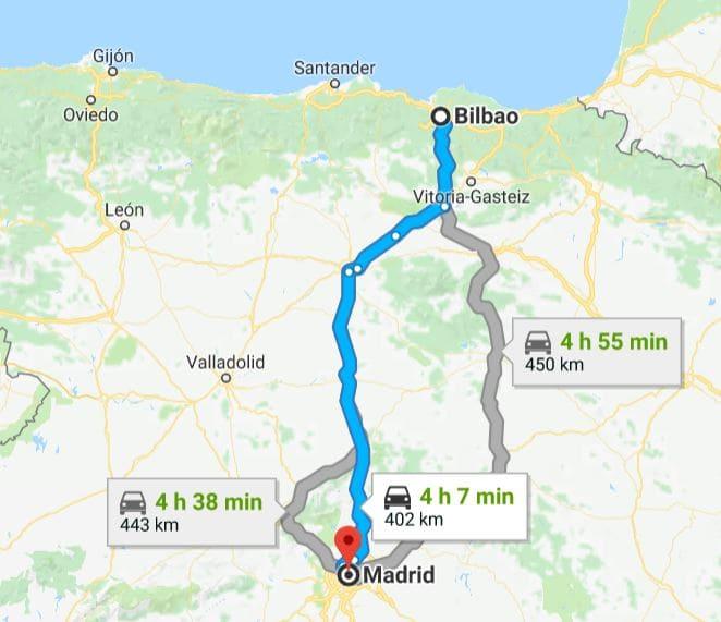 Mapa de deslocamento entre Madri e Bilbao.