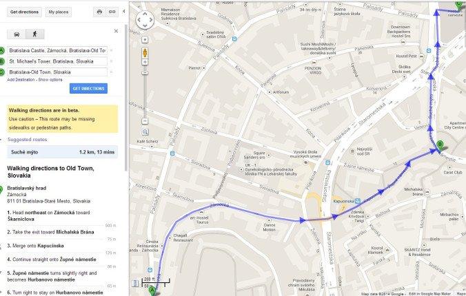 Bratislava - walking tour map