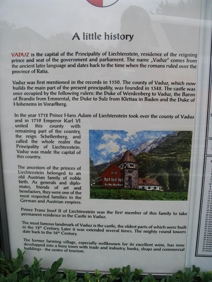 Vaduz Liechtenstein - history