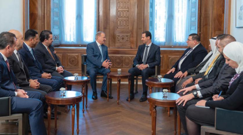 Esed 7 yıl sonra ilk kez Suriye'yi ziyaret eden Ürdün Parlamento Heyeti ile görüştü