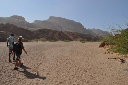 Quan and local guide James lead the TBI students and staff in the dry Nawata streambed at Lothagam, West Turkana.